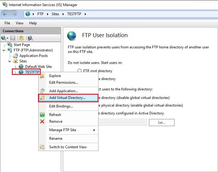 iis manager add virtual directory